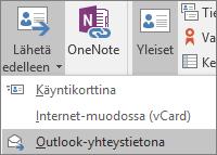 Valitse Outlookissa Yhteystieto-välilehden Toiminnot-ryhmästä Lähetä edelleen ja valitse sitten haluamasi vaihtoehto.