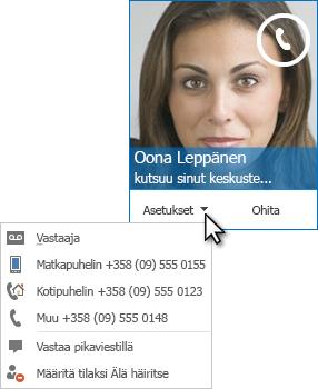 Näyttökuva äänipuheluilmoituksesta, jossa yhteyshenkilön kuva yläkulmassa