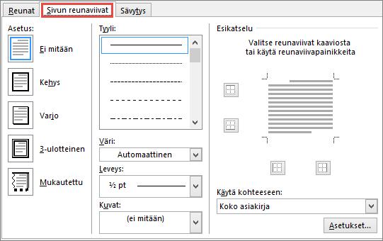 Word 2010:n Reunat ja sävytys -valintaikkunan Sivun reuna -välilehti