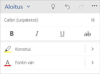 Näyttökuva Word Mobilen tekstinmuotoiluvalikosta.