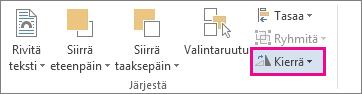 Kierrä-komento Piirtotyökalut - Muotoile -välilehdessä