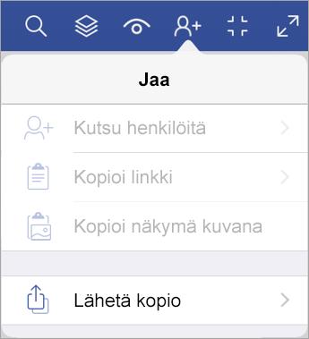 Tiedoston kopion lähettäminen Visio Viewer for iPadissa