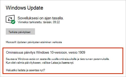 Windows Update, jossa näkyy toiminnon päivitys sijoittelu
