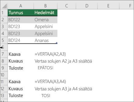 Esimerkki, jossa käytetään Vertaa-funktion avulla yhtä solua toiseen