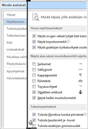 Tulosta taustavärit ja -kuvat -valintaruutu Wordin asetusten valintaikkunassa