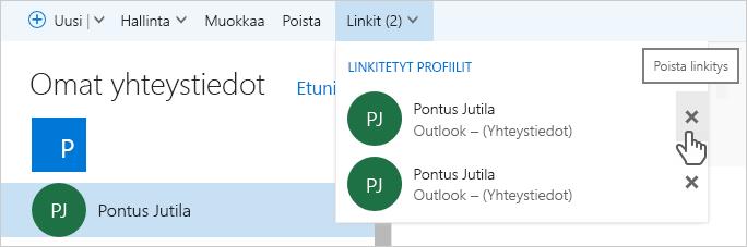 Outlook.com-yhteystietojen linkityksen poistaminen