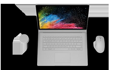 Näkymä avoimen Surface Book 2:n yläpuolelta.
