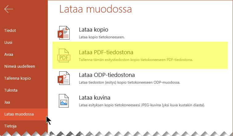 Valitse Tiedosto > Lataa nimellä > Lataa PDF-tiedostona