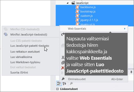 Näyttökuva Web Essentials -valikon asetuksista