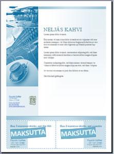 Microsoft Office Publisher 2007:ssä luotu leikattavia kuponkeja sisältävä lehtinen