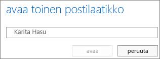Outlook Web Appin Avaa toinen postilaatikko -valintaikkuna