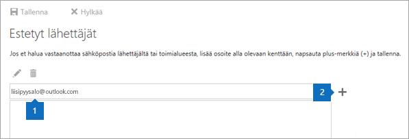 Näyttökuva Estetyt lähettäjät -sivusta.