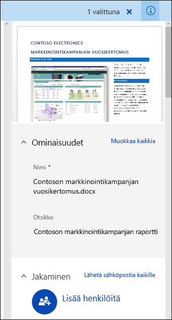 Office 365:n tiedoston metatietopaneeli