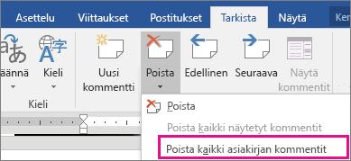 Tarkista-välilehden Poista kaikki asiakirjan kommentit -vaihtoehto on korostettu.