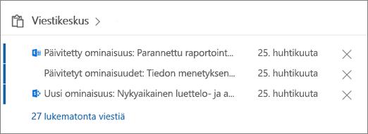 Office 365 -hallintakeskuksen viestikeskuksen sisältökortti.