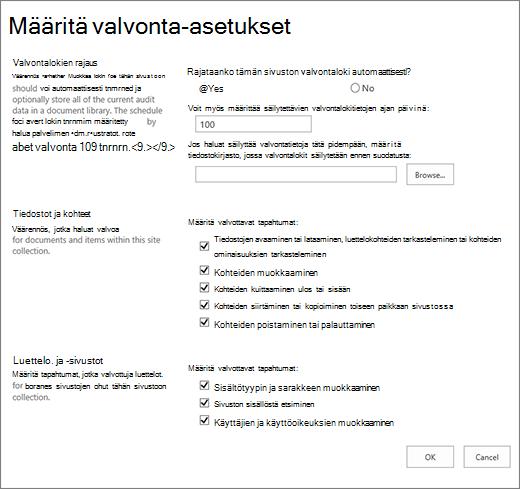 Valvonta-asetusten määrittäminen sivuston asetukset-valintaikkuna