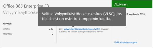 Volyymikäyttöoikeuskeskuksen (VLSC) linkki