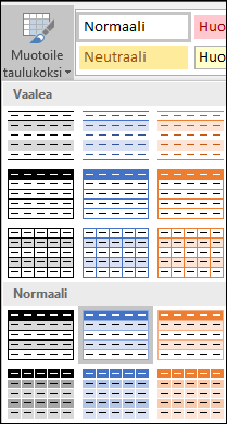 Excelin Tyylivalikoima-vaihtoehdot Muotoile taulukoksi -asetusta varten