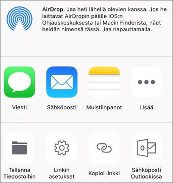 Näyttökuva iOS-järjestelmän OneDrive-sovelluksen Tallenna kuva -painikkeesta