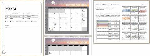 Esimerkkejä malleista (faksin kansilehti, kalenteri, tapahtuman aikataulu)