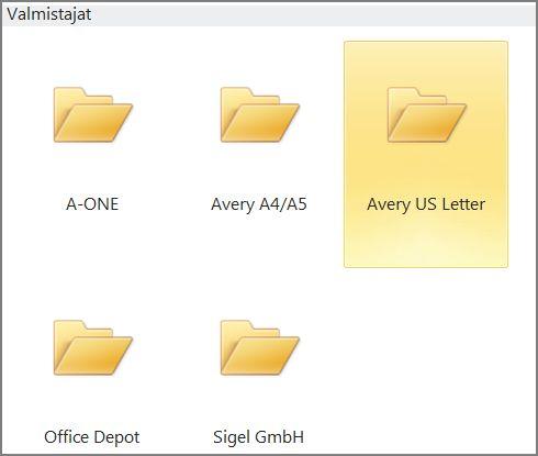 Tietyn postikorttivalmistajan, kuten Averyn, postikorttimallit.