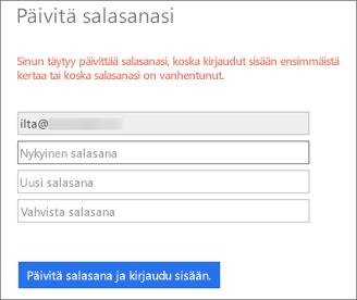 Office 365 kehottaa käyttäjää luomaan uuden salasanan.