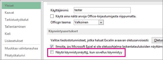 Excelin asetus aloitusnäytön poistamiseksi käytöstä Exceliä avattaessa