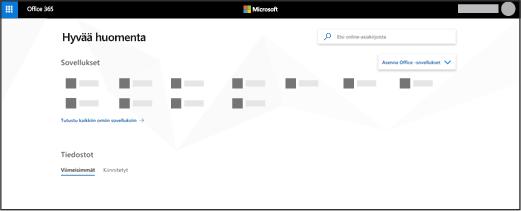 Office 365-aloitussivu