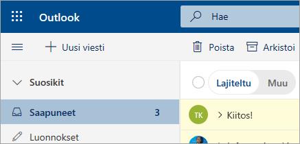 Näyttö kuva sähkö postista Outlookin verkko version beetaversiossa