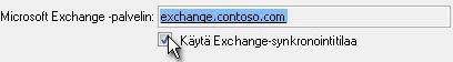 Käytä Exchange-synkronointitilaa -valintaruutu