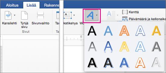 Lisää-välilehti, jossa näkyy korostettuna WordArt-vaihtoehto.