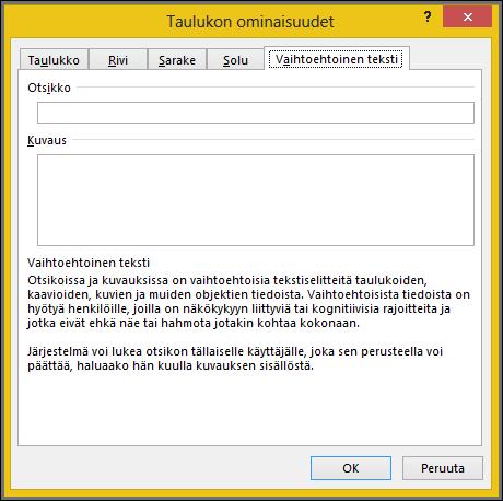 Vaihtoehtoinen teksti-välilehti, valitse taulukon ominaisuudet-valintaikkunassa