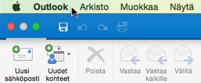 Näet käytössäsi olevan Outlookin version valitsemalla valikkoriviltä Outlook.