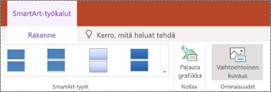Vaihtoehtoinen teksti -painike SmartArt-grafiikan valintanauhassa PowerPoint Onlinessa.
