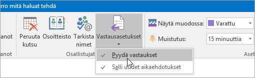 Näyttökuva Outlook 2016 for Windowsin Pyydä vastaukset -painikkeesta