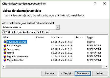 Ohjattu tietoyhteyden muodostaminen > Valitse tietokanta ja taulukko