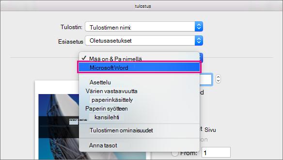 Valitse Tulosta-valintaikkunassa Microsoft Word ja määritä tulostuksen muut asetukset.