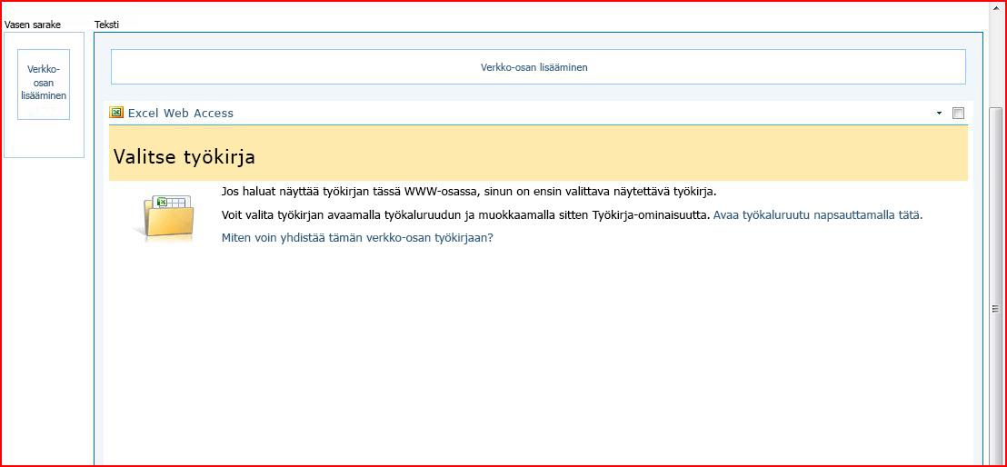 Excel Web Access -WWW-osa, jossa näkyy Valitse työkirja -ruutu