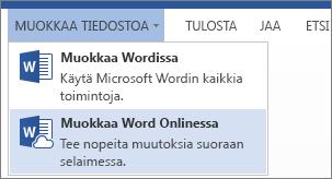 Word Onlinessa muokkaaminen