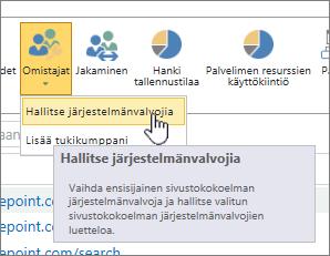 SPO-sivuston järjestelmänvalvojan Omistajat -painike, jossa Hallitse järjestelmänvalvojia on korostettu.