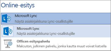 Online-esityksen pitäminen Microsoft Lyncin avulla