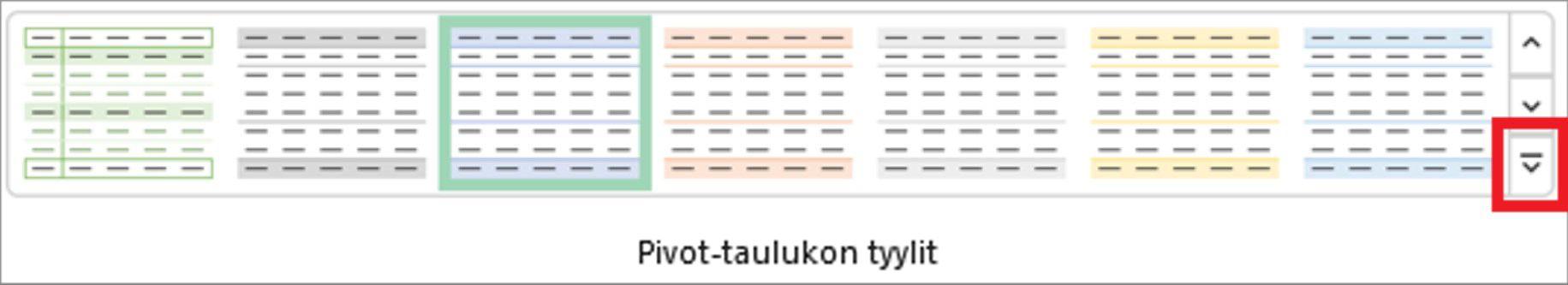 Excelin valintanauhan kuva