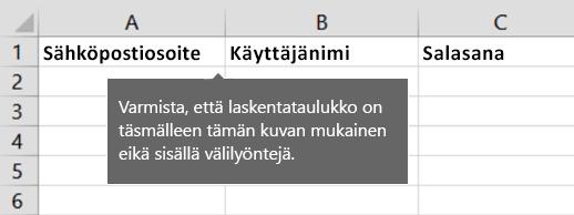 Solun otsikot Excel-siirtotiedostossa
