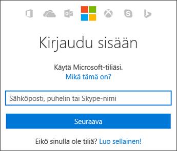 Näyttökuva Oman tilin sisäänkirjautumissivusta, johon kirjoitetaan Microsoft-tili, jolla Officea käytetään