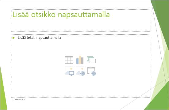 PowerPointin paikkamerkin otsikko- ja sisältödia