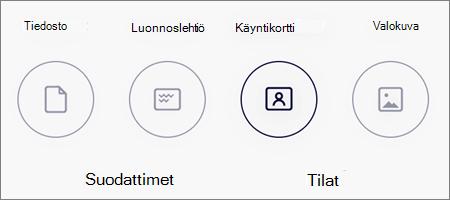 Kuvaskannausten tilavaihtoehdot OneDrive for iOS:ssä
