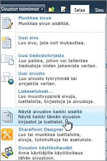 Näytä sivuston kaikki sisältö Sivuston toiminnot -valikossa