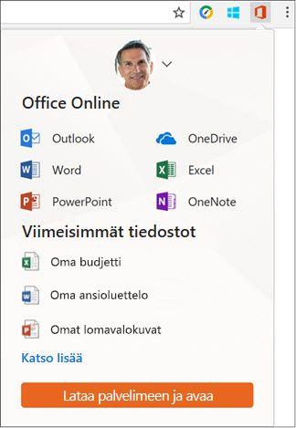 Avaa Office Online -ikkuna valitsemalla Office Online -laajennus Chrome-laajennusten palkista.