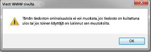 Sanoma, joka ilmoittaa, että tiedosto on lukittu, koska se on toisen käyttäjän käytössä