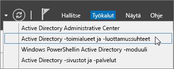 Valitse Active Directory -toimialueet ja -luottamussuhteet.